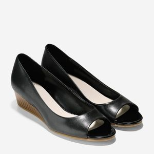 Cole Haan Size 9 Elsie Black Peep Toe Wedge Shoe